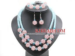 blue crystal necklace set images Popular trendy style pink and blue crystal beads jewelry set jpg