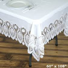lace vinyl table covers 60 x108 eco friendly white 0 6mil thick disposable waterproof lace