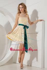 quinceanera damas dresses beautiful yellow strapless lace quinceanera dama dresses with sash