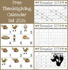 free 2014 thanksgiving calendar set 3 dinosaurs