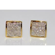 back diamond earrings earring white diamond square shape on back 10ct 10k yellow gold