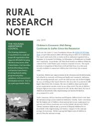 rural research notes housing assistance council