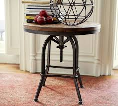 round wood and metal side table wonderful weldon side table pottery barn within wood and metal side