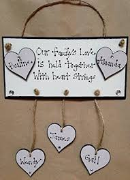 our family plaque wooden hearts personalised hanging hearts