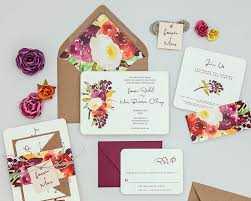 wedding invitations floral rustic modern floral wedding invitations autumn wedding