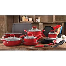 cookware black friday the pioneer woman vintage speckle 20 piece cookware combo set red