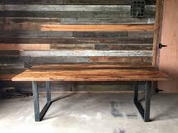 Wood Bench With Metal Legs Reclaimed Wood Table Metal Legs Table Designs