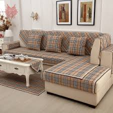 sofa canapé brown plaid sofa cover cotton linen lace decor sectional