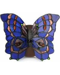 stained glass butterfly l deal alert dindy blue green pink and red glass 8 inch 2 light