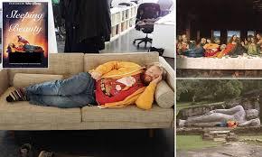 Meme Beauty Supply - sleeping advertising worker turned into meme by colleagues meme