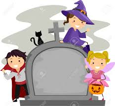 illustration of kids posing beside a tombstone stock photo
