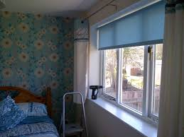 bedroom roller blind in kimono duck egg trimmed with self coloured