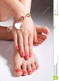 pretty painted toes and nails stock photo image 50750805