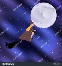 vector illustration witch on broomstick flying stock vector