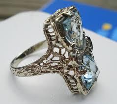 natural gemstone rings images Victorian filigree white gold ring of aquamarine natural gemstone jpg