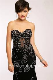 mermaid strapless see through corset long black lace beaded