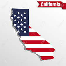 United States Map Clip Art by California State Map With Us Flag Inside And Ribbon Royalty Free