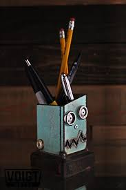 Small Desk Organizer by Desk Organizer Small Pencil Pusher Robot Blue Voigt Emporium