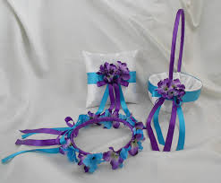 purple and turquoise wedding white purple turquoise wedding accessories bridal ring bearer