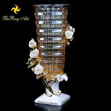 home decoration glass vase with resin flower base craft wedding