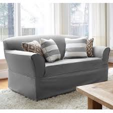 grey twill sofa slipcover quickcover twill one piece relaxed fit wrap sofa slipcover free