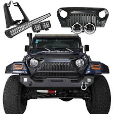 jeep light bar grill jeep wrangler tj led light bars halos grills u0026 products