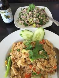 singha cuisine spicy fried rice with prawns pork salad singha picture