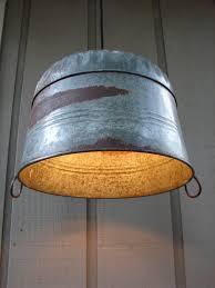 Galvanized Pendant Light Upcycled Galvanized Farm Tub Pendant Light 190 00 Via Etsy