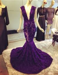 modern deep v neck purple prom dresses 2017 mermaid lace