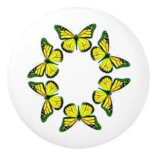 yellow butterfly ring ceramic knob