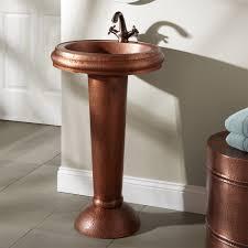 Copper Bathroom Vanity by Home Bathroom Bari Hammered Copper Pedestal Sink Hammered