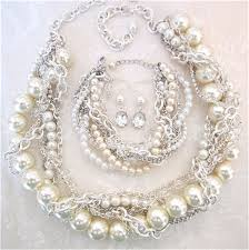 chunky pearl statement necklace images Chunky pearl wedding set with statement necklace bracelet jpg