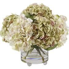 Flowers Glass Vase Winward Silks Lavender And Green Hydrangeas Floral Arrangements In