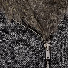 Gry Colour River Island Grey Colour Block Tweed Faux Fur Collar Coat In Gray