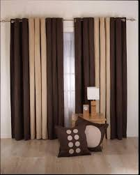 Sliding Drapes Decorations Brown Cream Color Sliding Curtain Designs For Living