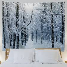 snow decoration grey white w91 inch l71 inch snow forest print tapestry wall