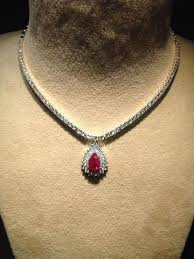 pendant necklace india images Classic ruby necklace with diamond pointer neckline sku 15 jewelove jpg
