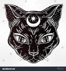 romantic halloween background black cat head portrait moon ideal stock vector 479229835
