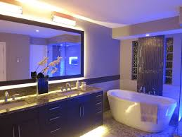 Home Led Lighting Ideas by Charming Bathroom With Yellow Led Lights In Marble Top Vanity