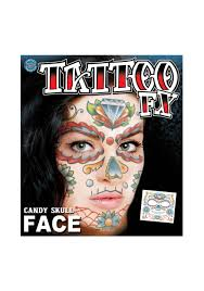 halloween costumes with tattoos candy skull face temporary tattoo