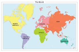 Simple World Map by Continents Of The World Map Roundtripticket Me