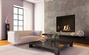 wall ventless fireplace yellow paint on the wall square beige