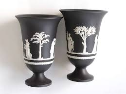 Classical Vases A Good Pair Of English Black Jasperware Beaker Vases With