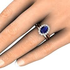 oval sapphire engagement rings blue sapphire and wedding ring oval cut halo earth