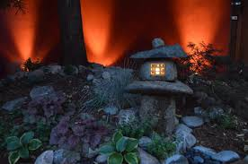 japanese lantern with outdoor lighting landscaping in denver