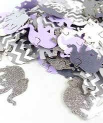 Purple And Silver Baby Shower Decorations Elephant Confetti Baby Shower Elephant Theme Baby Shower