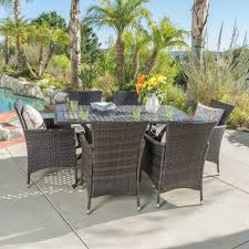 hampton house furniture hampton outdoor 7pc cast aluminum dining set with multibrown