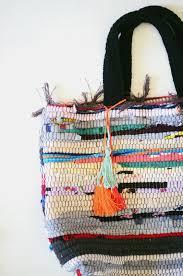 diy rag rug bag cakies bag craft and weaving projects