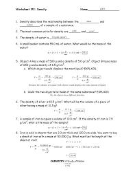 worksheet 2 density name chemistry