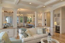 open floor plan living room like the way the kitchen is divided from the living room but still